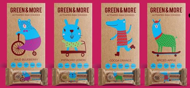 Green & More activated raw organic protein cookies and bars